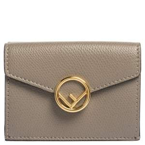 Fendi Beige Leather Micro Trifold Compact Wallet