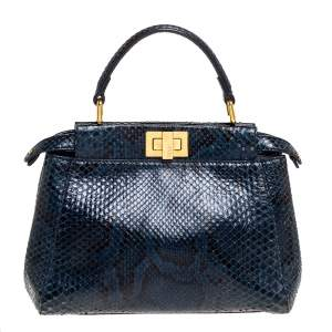 Fendi Blue Python Mini Peekaboo Top Handle Bag