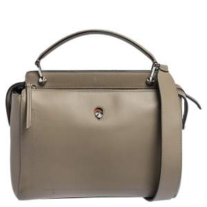Fendi Bleeker Beige Leather Dotcom Top Handle Bag