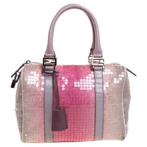 Fendi Pink Ombre Sequins and Fabric Small Forever Bauletto Boston Bag