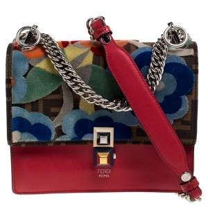 Fendi Red/Brown Floral Zucca Canvas and Leather Kan I Crossbody Bag