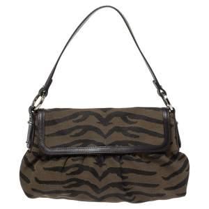 Fendi Brown/Black Tiger Print Canvas and Leather Chef Shoulder Bag