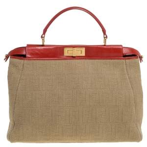 Fendi Beige/Red Zucca Corda Pumpkin Rope and Leather Large Peekaboo Top Handle Bag