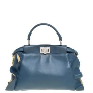 Fendi Blue/Yellow Leather Mini Wave Peekaboo Top Handle Bag