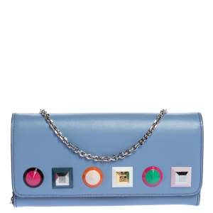 Fendi Lilac Leather Studded Wallet On Chain