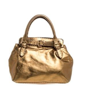 Fendi Metallic Gold Leather Selleria Villa Borghese Satchel