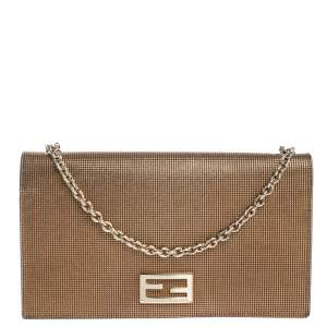 Fendi Gold Mesh Effect Leather FF Wallet On Chain