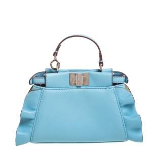 Fendi Light Blue Leather Micro Peekaboo Top Handle Bag