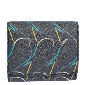 Fendi Multicolor Ellite Birds Print Leather Flap Compact Wallet