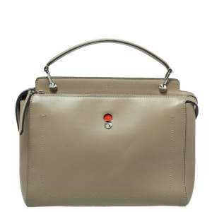 Fendi Khaki Green Leather Dotcom Top Handle Bag