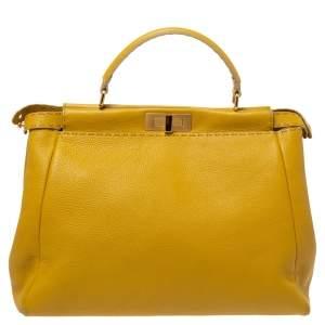 Fendi Mustard Selleria Leather Large Peekaboo Top Handle Bag