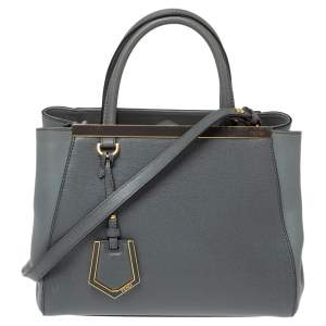 Fendi Grey Saffiano Leather Small 2Jours Tote