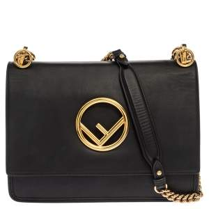 Fendi Black Leather Kan I F Shoulder Bag