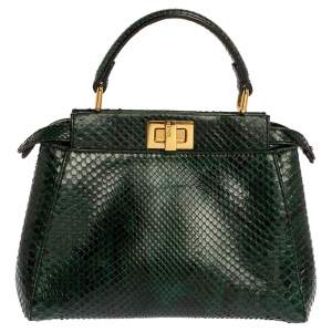 Fendi Green Python Mini Peekaboo Top Handle Bag