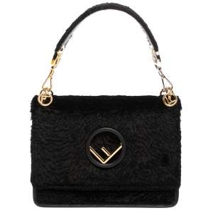 Fendi Black Velvet Kan I F Top Handle Bag