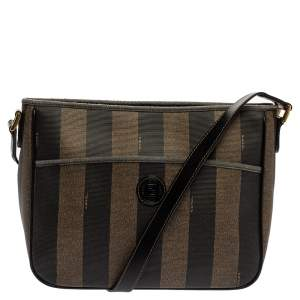 Fendi Black/Tobacco Pequin Striped Coated Canvas Vintage Crossbody Bag