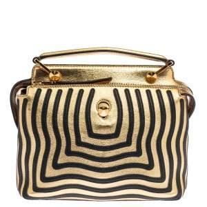 Fendi Gold/Black Quilted Leather Dotcom Click Shoulder Bag