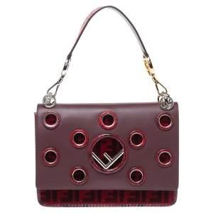 Fendi Burgundy/Red Eyelet Leather, Velvet and Python Kan I F Shoulder Bag