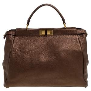 Fendi Bronze Selleria Leather Large Peekaboo Top Handle Bag