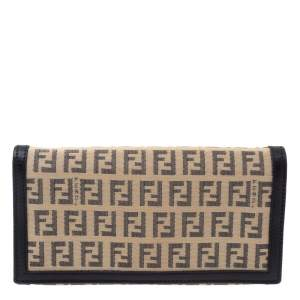 Fendi Black/Beige Zucchino Canvas and Leather Flap Continental Wallet
