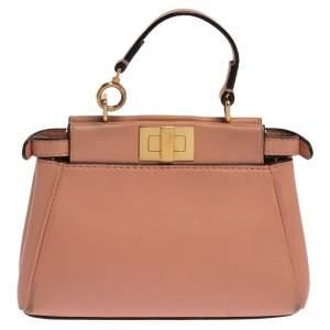 Fendi Coral Leather Micro Peekaboo Crossbody Bag
