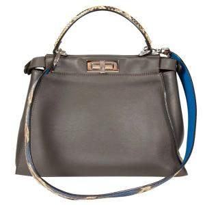 Fendi Grey Python Leather Medium Peekaboo Bag