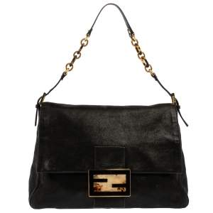 Fendi Black Iridescent Leather Mama Forever Large Flap Shoulder Bag