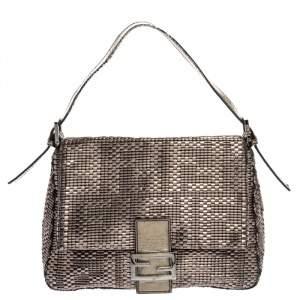 Fendi Metallic Woven Leather Mama Forever Shoulder Bag