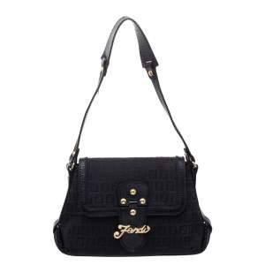 Fendi Black Zucchino Canvas  and Leather Logo Flap Shoulder Bag