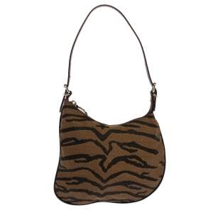 Fendi Brown Printed Canvas and Leather Small Oyster Hobo
