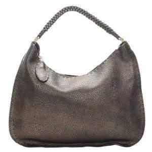 Fendi Brown/Bronze Leather Selleria Shoulder Bag