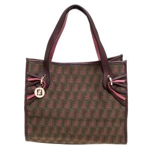Fendi Pink/Brown Zucchino Canvas and Leather FF Charm Tote