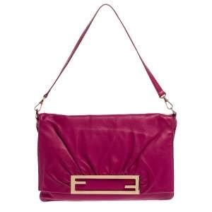 Fendi Purple Leather Cutout Flap Shoulder Bag