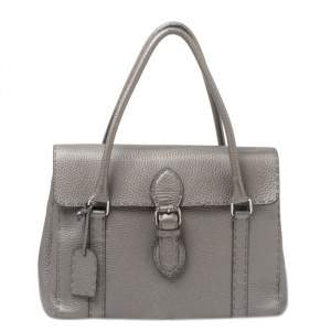 Fendi Grey Selleria Leather Linda Satchel