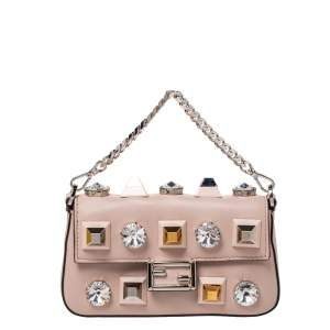 Fendi Pale Pink Crystal Studded Leather Micro Baguette Wallet on Chain