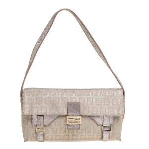 Fendi Biege Shimmer Zucchino Canvas and Leather Sweet Pochette Bag