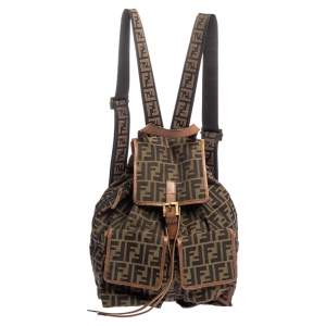 Fendi Tobacco Zucca Canvas and Leather Travel Backpack