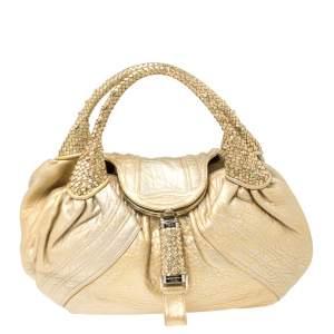 Fendi Gold Holographic Textured Leather Spy Hobo