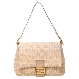 Fendi Beige Zucchino Coated Canvas and Leather Mama Forever Shoulder Bag