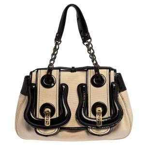 Fendi Black/Ivory Canvas and Patent Leather B Shoulder Bag