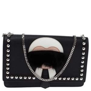 Fendi Black Leather Karlito Wallet on Chain