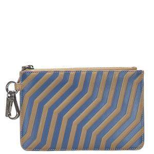 Fendi Blue/Brown Stripped Leather Pouch