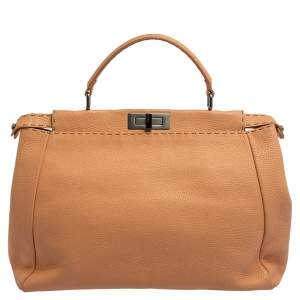Fendi Peach Selleria Leather Large Peekaboo Top Handle Bag