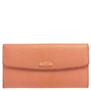 Fendi Peach Leather Logo Flap Continental Wallet