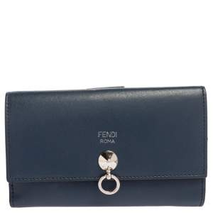 Fendi Blue Leather By The Way Compact Wallet