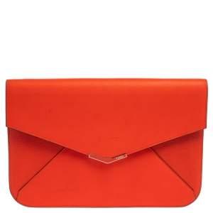 Fendi Orange Leather Large 2Jours Wrislet Envelope Clutch