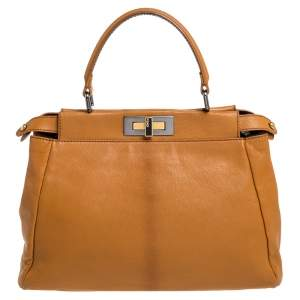 Fendi Tan Leather Medium Peekaboo Top Handle Bag