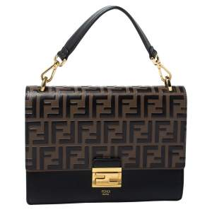 Fendi Black/Brown Zucca Embossed Leather Medium Kan U Top Handle Bag