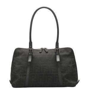 Fendi Black Zucca Canvas Shoulder Bag