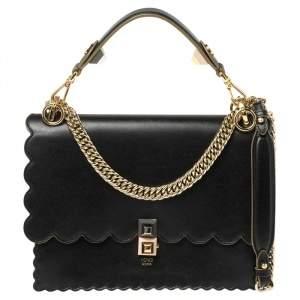 Fendi Black Scalloped Leather Medium Kan I Shoulder Bag